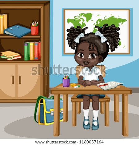 Cute Cartoon Girl Sitting At Desk With Bookshelf World Map And School Supplies Little