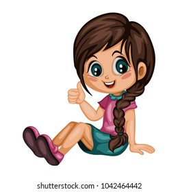 Cute Cartoon Girl Sitting and Showing Thumb Up. Colorful Vector Illustration