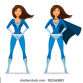 cute cartoon girl in super heroine costume with cape