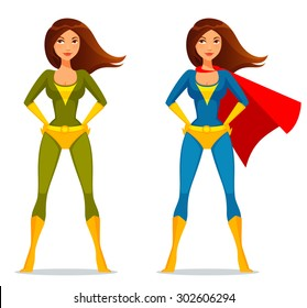 cute cartoon girl in superhero costume