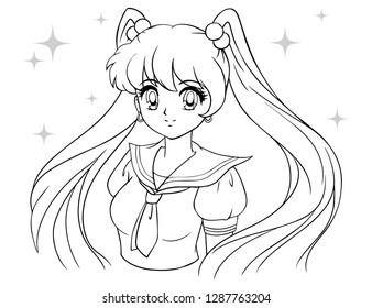 Cute cartoon girl with tails in school sailor uniform. Contour draw for coloring book, children games. 90's anime ans manga style hand drawn vector illustration.