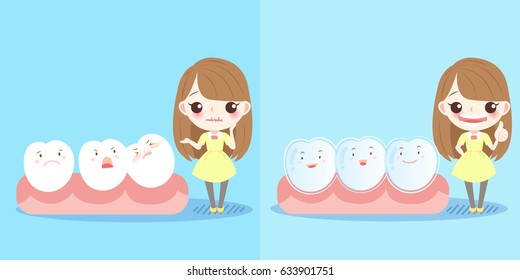 cute cartoon girl with tooth and brace