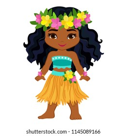 Cute cartoon girl in traditional Hawaiian dancer costume.