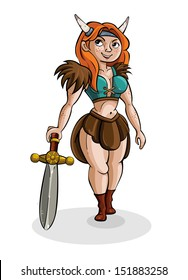 Cute cartoon girl viking. Medieval Warrior with guns. Character