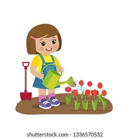 Cute Cartoon Girl With Watering Can Working In Garden. Young Farmer Girl Watering Tulip Flowers. Colorful Simple Design Vector. Spring Gardening Vector Illustration.