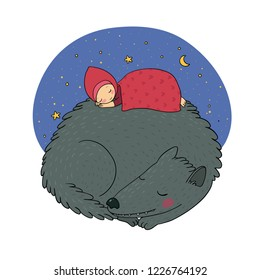 A cute cartoon girl and a wolf.  little Red Riding Hood fairy tale. Vector illustration.