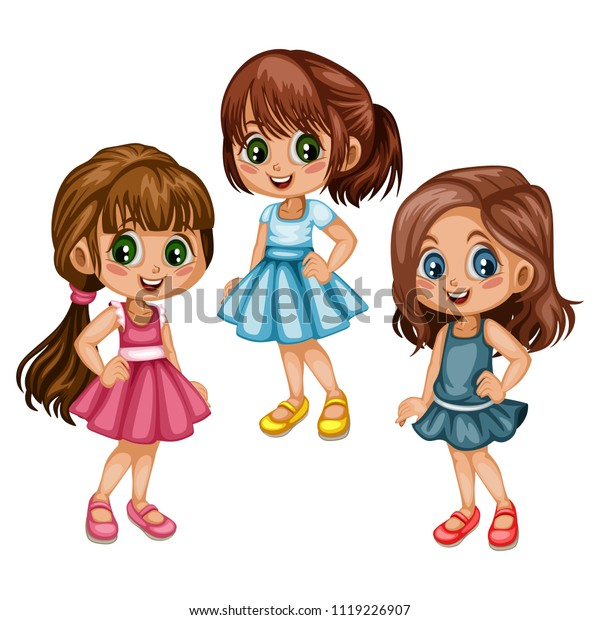 Cute Cartoon Girls Collection Different Clothes Stock Vector