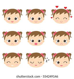 Cute cartoon girls with different emotions. Vector set of emoji and emoticons