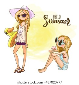 Cute cartoon girls on the beach. Summer holidays vector illustration.
