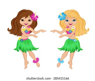 Cute cartoon girls in traditional Hawaiian dancer costume
