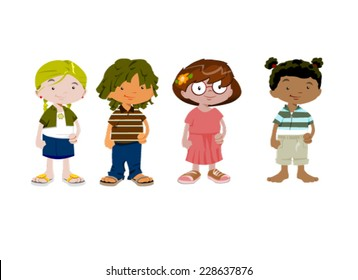 Cute cartoon girls. Vector clip art illustration with simple gradients. Each in a separate layer.