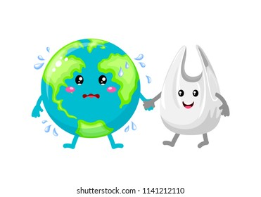Cute cartoon globe character holding hands with plastic bag. Global warming concept. Illustration isolated on white background.