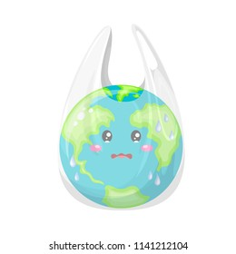 Cute cartoon globe character in plastic bag. World Environment Day concept. Illustration isolated on white background.