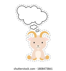 Cute cartoon goat with speech bubble sticker. Kawaii character on white background. Cartoon sitting animal postcard clipart for birthday, baby shower, party event. Vector stock illustration.