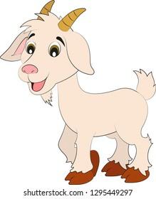 Cute Cartoon Goat. Vector Goat