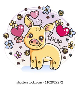 Cute cartoon golden baby pig on a flower background in love. Vector illustration