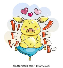 Cute cartoon golden pig in love. Symbol of New 2019 Year. Chinese horoscope