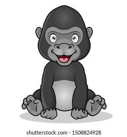 a cute cartoon gorilla sits while smiling