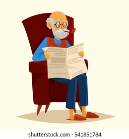 Cute cartoon grandfather sitting in a chair and reading a newspaper. He smokes a pipe. Vector illustration. Character.