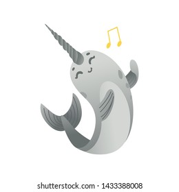 Cute cartoon gray narwhal sings. Cute and smiling sea unicorn with gradient, cartoon animal and narwhal with musical note, isolated vector illustration on white background.