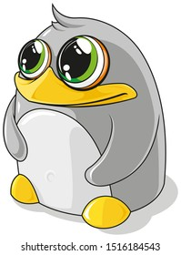 Cute cartoon gray penguin with green eyes on a white background