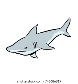 cute cartoon great white shark