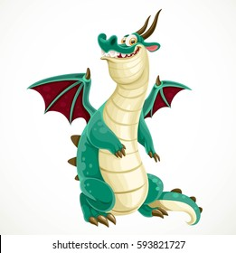 Cute cartoon green dragon isolated on a white background
