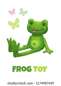 Cute cartoon green frog stuffed toy. Vector baby plush toy icon. Isolated on white background.
