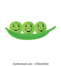 Cute cartoon green pea. Vector illustration