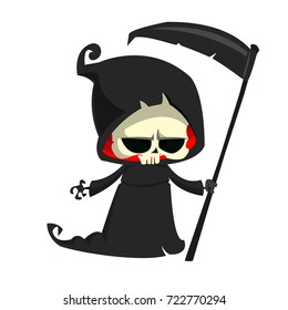Cute cartoon grim reaper with scythe isolated on white. Vector illustration. Design for print, logo, emblem, sticker or party decoration
