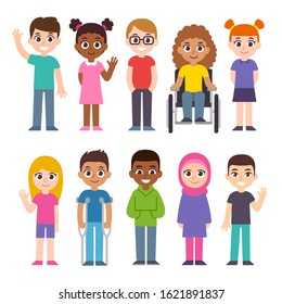 Cute cartoon group of children. Diversity and inclusion clip art illustration set. Kids of different cultures and skin color, disabled child.