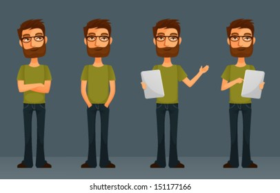 cute cartoon guy with beard and glasses, in various poses