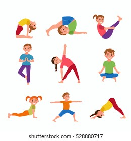 Cute cartoon gymnastics for children and healthy lifestyle sport illustration. Vector concept happy kids exercise poses and yoga asana set for fitness design