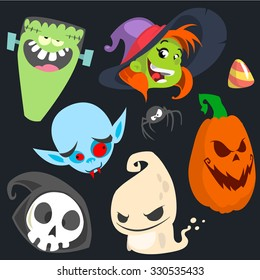 Cute cartoon Halloween characters icon set. Monster, witch, vampire, pumpkin head, death and cute ghost