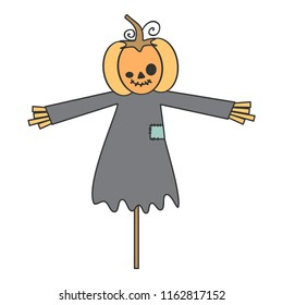 cute cartoon halloween vector illustration with pumpkin scarecrow isolated on white background