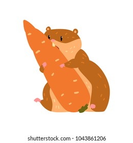 Cute cartoon hamster character eating carrot, funny brown rodent animal pet vector Illustration on a white background