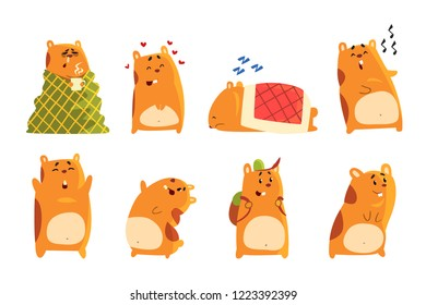 Cute cartoon hamster characters set, funny animal showing various actions and emotions vector Illustrations