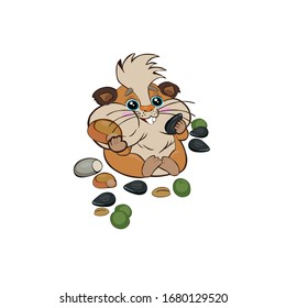 Cute cartoon hamster stuffed his cheeks with supplies, seeds, peas, sunflower seeds. Emotions from food. Vector illustration on a white background