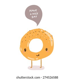 cute cartoon hand drawn bagel character - have a nice day - greeting illustration