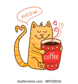 Cute cartoon hand drawn cat with cup of coffee. Adorable vector clip art for your design. Isolated on wight.