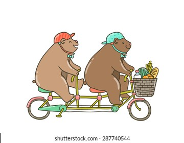 Cute cartoon hand drawn fat bears on bicycle with food in the basket.