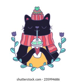 cute cartoon hand drawn Merry Christmas card with cat in knitted hat and scarf, drinking smoothie.