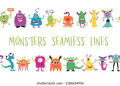 Cute cartoon hand drawn monsters seamless lines with the place for text card with colorful doodle monsters, vector illustration