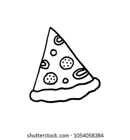 Cute cartoon hand drawn pizza illustration.
