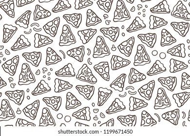 Cute cartoon hand drawn pizza seamless pattern.