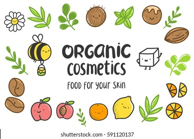Cute cartoon hand drawn poster for organic cosmetics
