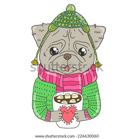 d70878d9d6c cute cartoon hand drawn pug dog in knit sweater hat and cacao with  marshmallow. Vector