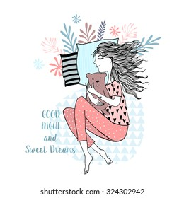cute cartoon hand drawn sleeping girl - Good Night postcard background.