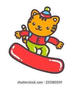 Cute cartoon hand drawn tiger on snowboard. Vector animal illustration