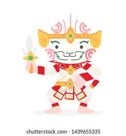 Cute cartoon Hanuman Thai character vector